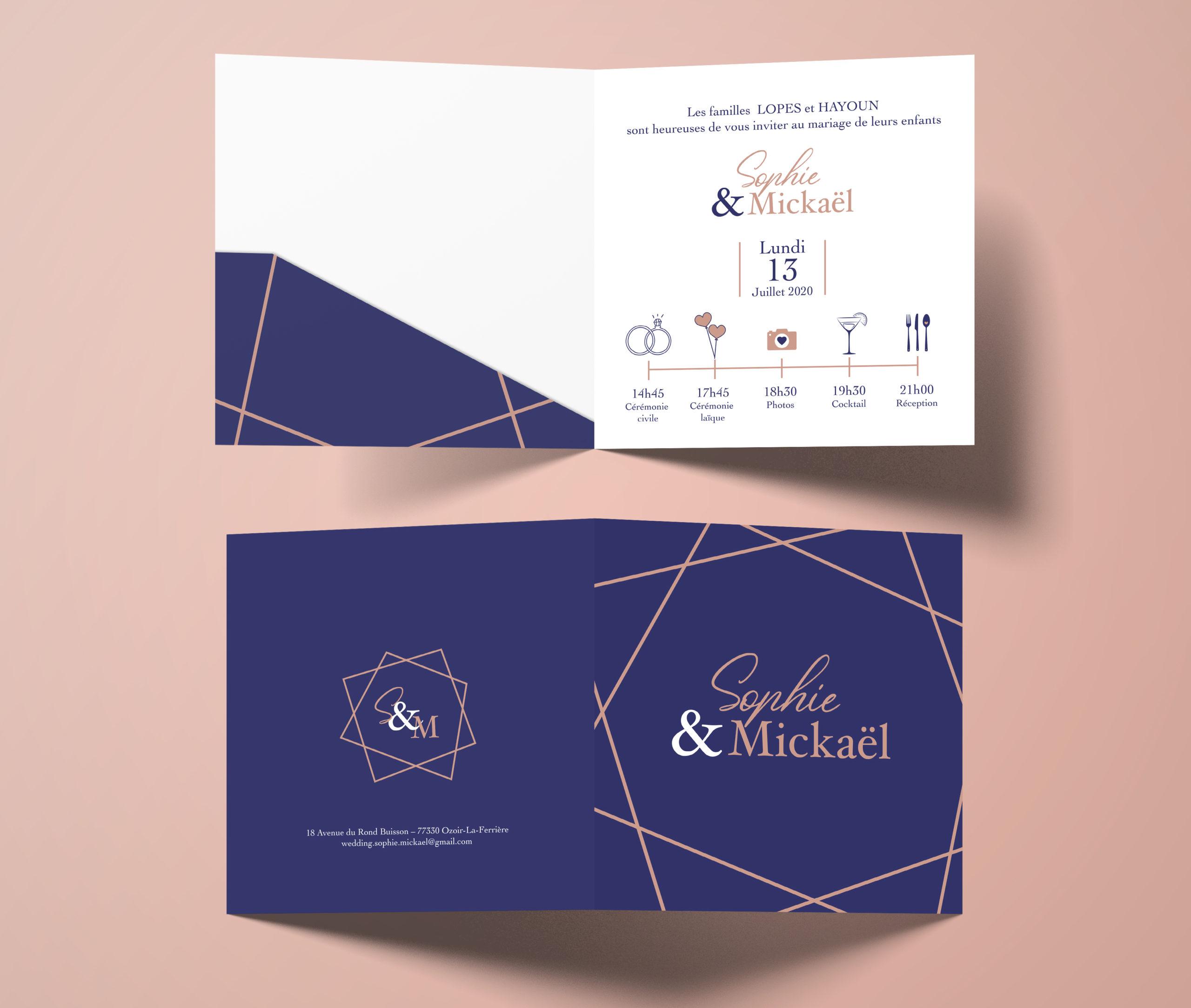 FAIRE PART-MARIAGE-surmesure-S_M - 1 Noiseau à Paris - Graphiste illustratrice Webdesigner Val de Marne