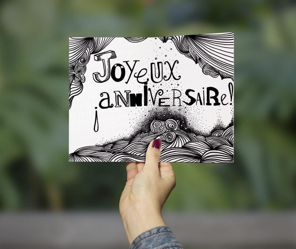 ILLUSTRATION-JOYEUX ANNIV-carte - 1 Noiseau à Paris - Graphiste illustratrice Webdesigner Val de Marne